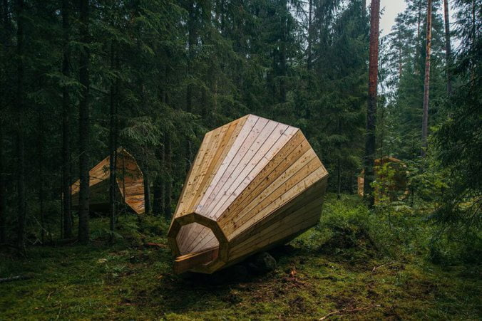 Estonian-students-build-giant-megaphones-in-the-forest-1