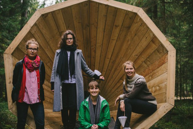 Estonian-students-build-giant-megaphones-in-the-forest-7