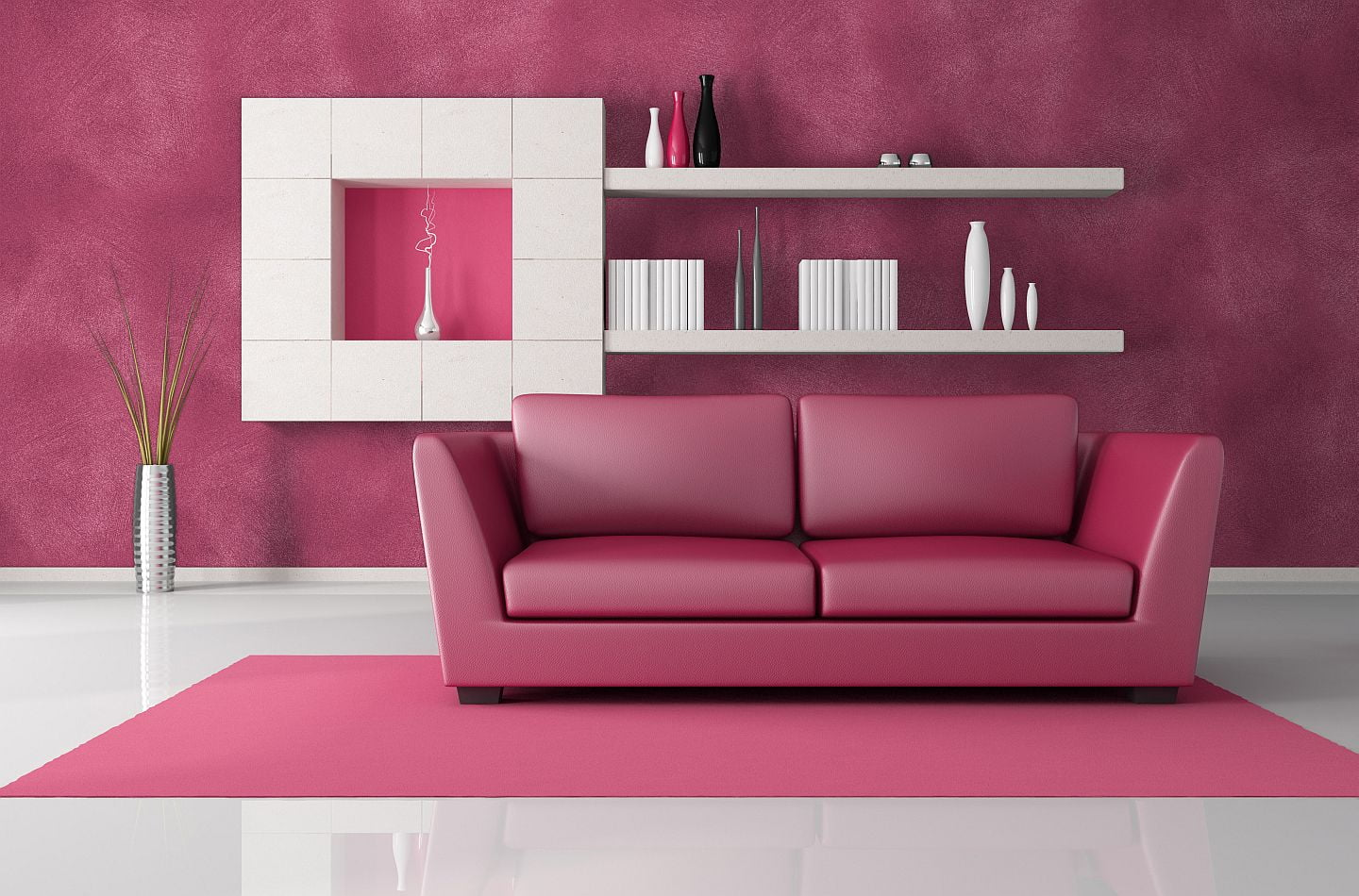 pink and black living room