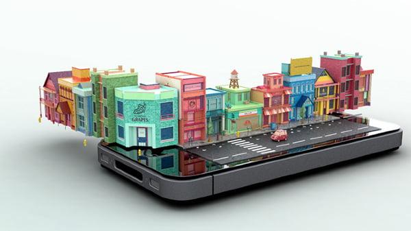 iphone-sanal-şehir-animasyonu