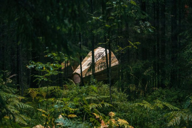 Estonian-students-build-giant-megaphones-in-the-forest-6